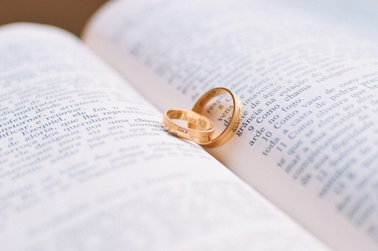 3D Trauringe selber gestalten hübsche Eheringe in einem Buch